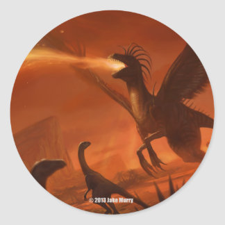Fire-Breathing Prehistoric Dinosaur by Jake Murray Classic Round Sticker