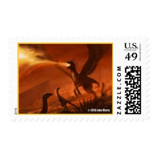 Fire-Breathing Prehistoric Dinosaur by Jake Murray Postage Stamps