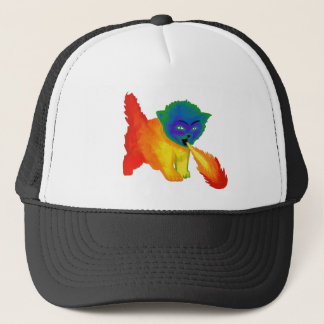 Fire Breathing Rainbow Kitten Trucker Hat