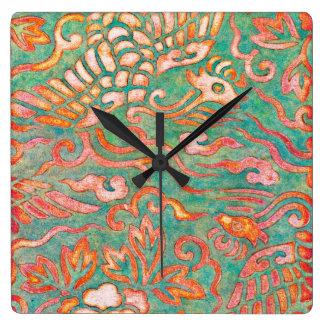 Fire-Breathing Southwest Desert Dragons Square Wall Clocks