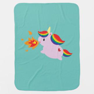 Fire-Breathing Unicorn Receiving Blanket