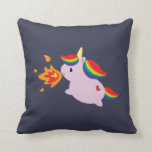 Fire-Breathing Unicorn Throw Pillow