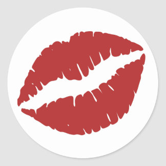 Fire Brick Lipstick Print Classic Round Sticker