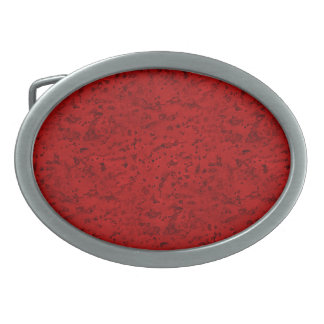 Fire Brick Red Cork Look Wood Grain Oval Belt Buckle