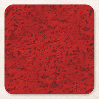Fire Brick Red Cork Look Wood Grain Square Paper Coaster