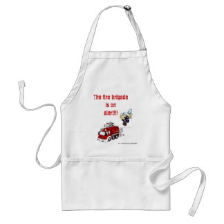 Fire brigade on alert. funny humor bbq cooking adult apron