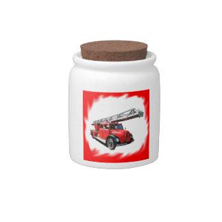 Fire-brigade turntable ladder car candy jar
