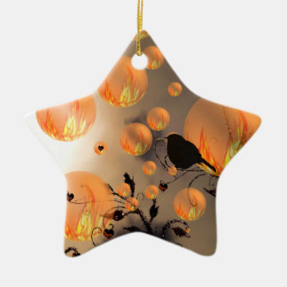 Fire Bubbles Star Double-Sided Star Ceramic Christmas Ornament