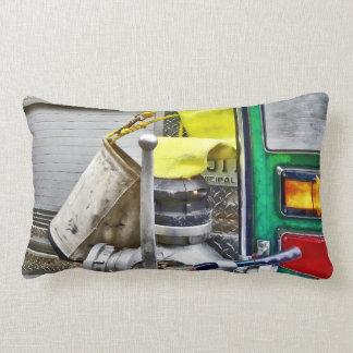 Fire Bucket and Yellow Fire Hose Lumbar Pillow