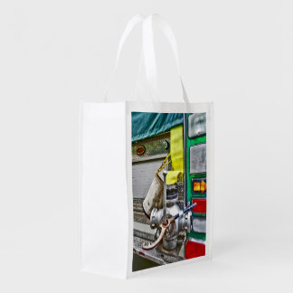 Fire Bucket and Yellow Fire Hose Reusable Grocery Bag