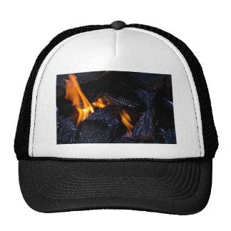 Fire Burning Wood Trucker Hat