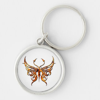 Fire butterfly keychain. Silver-Colored round keychain