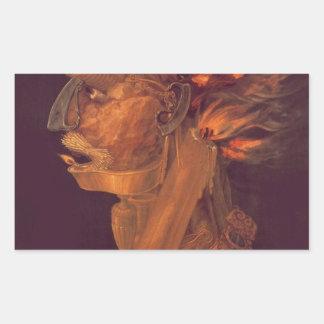 Fire by Giuseppe Arcimboldo Rectangular Sticker