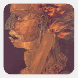 Fire by Giuseppe Arcimboldo Square Sticker