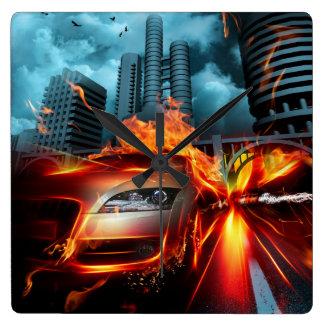 Fire Car Fantasy Wall Clock