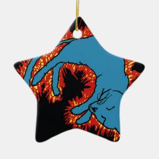 Fire Cat Ceramic Ornament