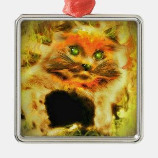 Fire Cat Christmas Tree Ornament