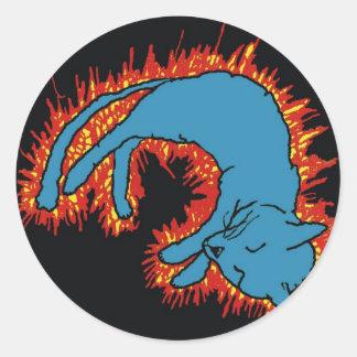 Fire Cat Classic Round Sticker