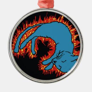 Fire Cat Metal Ornament
