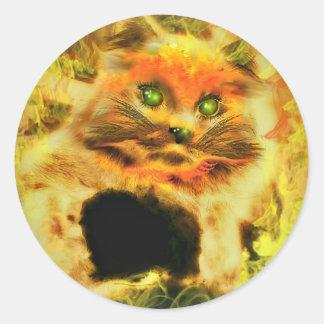 Fire Cat Round Sticker
