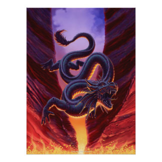 """""""Fire Cavern"""" Canvas Art Poster"""