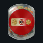 "Fire Chief 5 Trumpet Glass Jar<br><div class=""desc"">This item is decorated with the Firefighter&#39;s Maltese Cross bracketed with the Fire Chief&#39;s 5 horns emblem.</div>"
