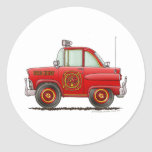 Fire Chief Car Firefighter Fireman Round Stickers
