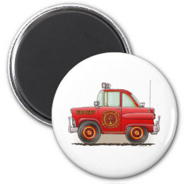 Fire Chief Car Round Magnet