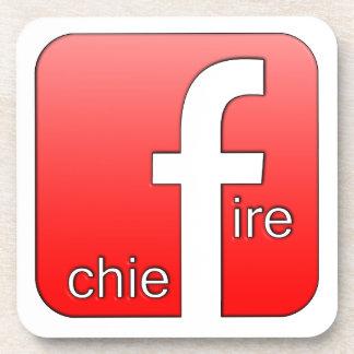 Fire Chief Facebook Logo Unique Gift Coaster