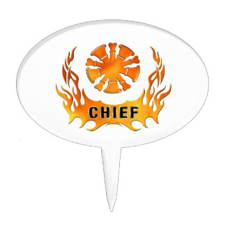Fire Chief Flames Cake Topper