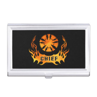 Fire Chief Flames Case For Business Cards