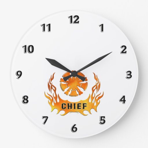 Fire Chief Flames Round Clocks