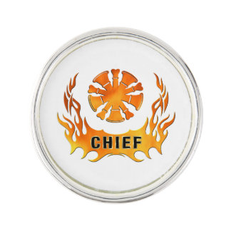 Fire Chief Flames Lapel Pin