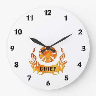 Fire Chief Flames Large Clock