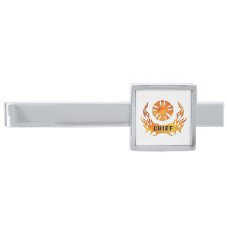 Fire Chief Flames Silver Finish Tie Bar