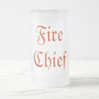Fire Chief Frosted Glass Beer Mug