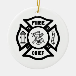 Fire Chief Double-Sided Ceramic Round Christmas Ornament