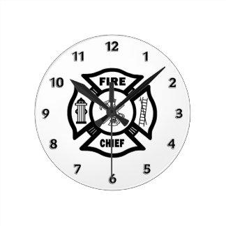 Fire Chief Round Clock