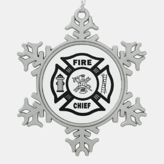 Fire Chief Snowflake Pewter Christmas Ornament