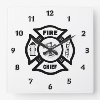 Fire Chief Square Wall Clock