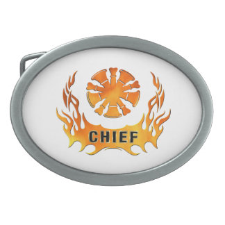 Fire Chief's Flames Oval Belt Buckles