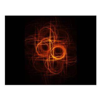 fire circle rays cross postcard