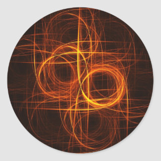fire circle rays cross round stickers