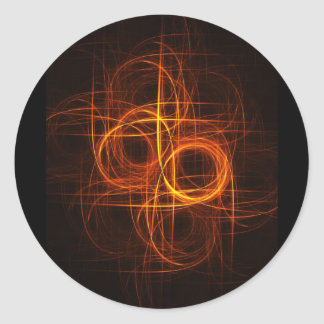 fire circle rays track round stickers