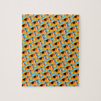 Fire Clownfish Pattern in Blue Jigsaw Puzzle