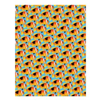 Fire Clownfish Pattern in Blue Letterhead
