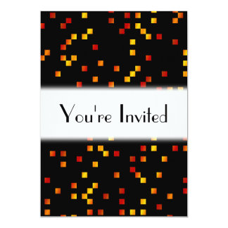 Fire Colors, Square Dots on Black. Card