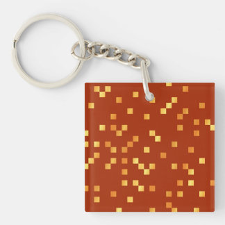 Fire Colors, Square Dots Pattern. Keychain
