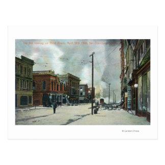 Fire Coming Up Third Street, 1906 Earthquake Postcard