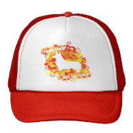 Fire Corgi Splatter Mesh Hats